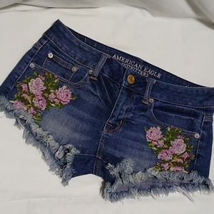 American Eagle Distressed Floral Jean Shorts
